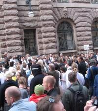 Från demonstrationen imorse