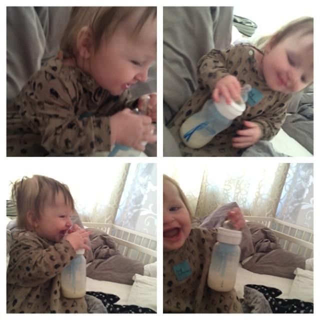 Fartfylld morgon när Ada tog till flaskan. #adabebisen