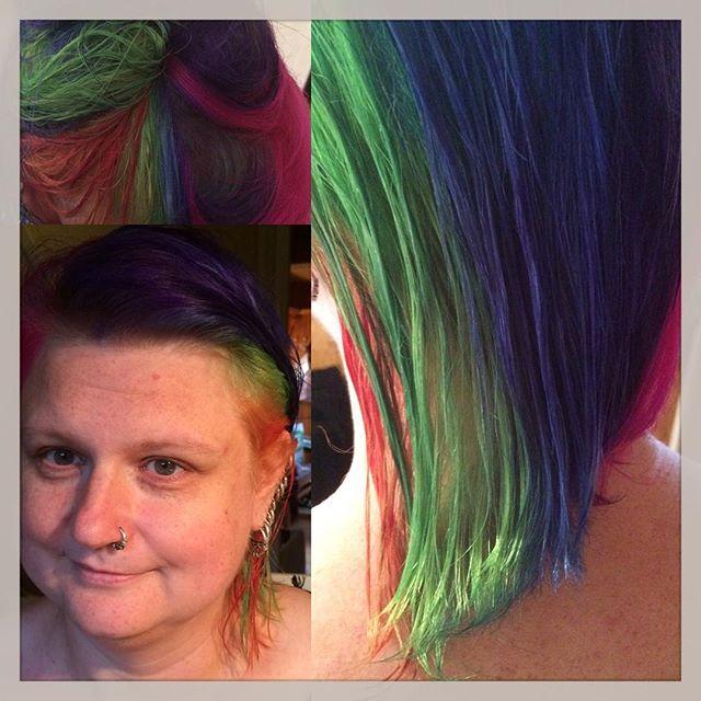Jag lekt frisör idag. #rainbowhair #zara